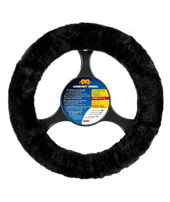 Comfort Wheel, coprivolante elasticizzato in vera pelliccia - Nero - Ø 36-42 cm