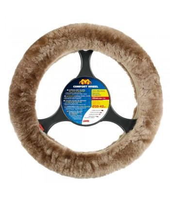 Comfort Wheel, coprivolante elasticizzato in vera pelliccia - Naturale - Ø 36-42 cm