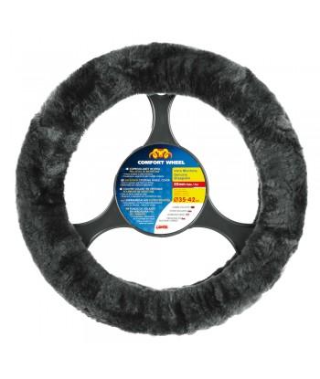 Comfort Wheel, coprivolante elasticizzato in vera pelliccia - Antracite - Ø 36-42 cm