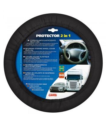 Protector 2 in 1, coprivolante elasticizzato in poliestere - Nero
