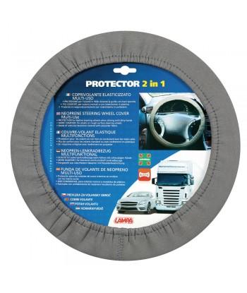 Protector 2 in 1, coprivolante elasticizzato in poliestere - Grigio
