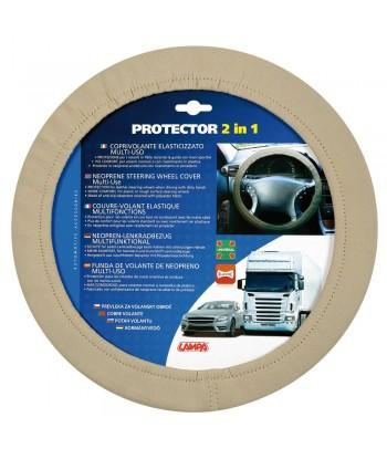 Protector 2 in 1, coprivolante elasticizzato in poliestere - Beige