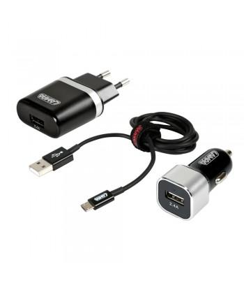 Kit 3 in 1 Micro Usb - Fast Charge - 12/24V + 230V
