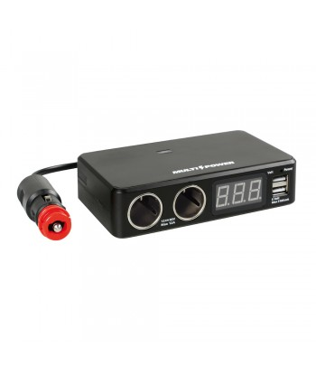 Multi-Power, 2 prese accendisigari + 2 USB e voltmetro, 12/24/36V
