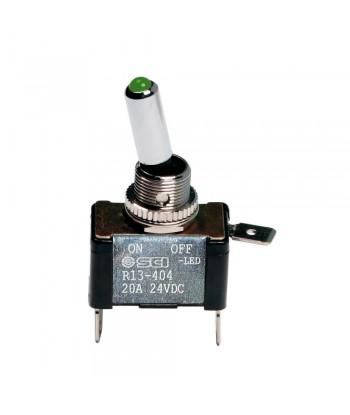 Interruttore a leva, in alluminio con spia a Led -  12/24V - Verde -   20A