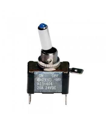 Interruttore a leva, in alluminio con spia a Led -  12/24V - Blu -   20A
