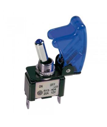 Interruttore a leva con sicura, in alluminio con spia a Led -  12/24V - Blu -   20A