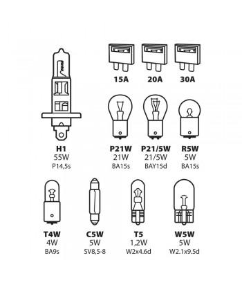 Kit lampade di ricambio 11 pz, alogena H1 - 12V
