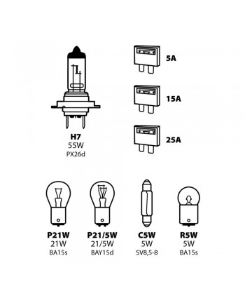 Kit lampade di ricambio 8 pz, alogena H7 - 12V