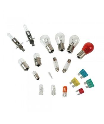 Kit lampade di ricambio 19 pz, alogena 2x H1 - 12V