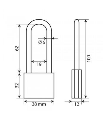 Standard, lucchetto in ottone - 40 mm XL