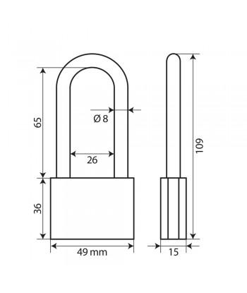 Standard, lucchetto in ottone - 50 mm XL