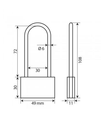 Basic, lucchetto in ottone - 50 mm XL