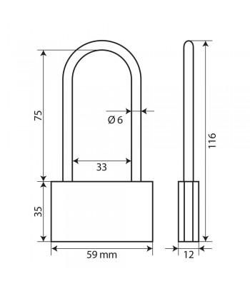 Basic, lucchetto in ottone - 60 mm XL