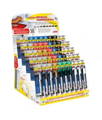 Espositore completo di 150 penne assortite per ritocco carrozzeria - 84 colori