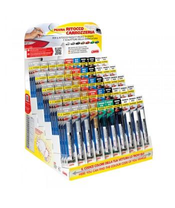 Espositore completo di 150 penne assortite per ritocco carrozzeria - 50 colori