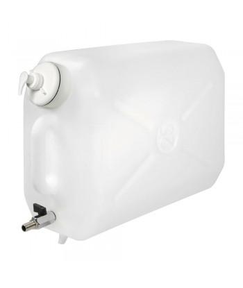 Tanica in plastica, con rubinetto in metallo e dispenser porta sapone - 25 L